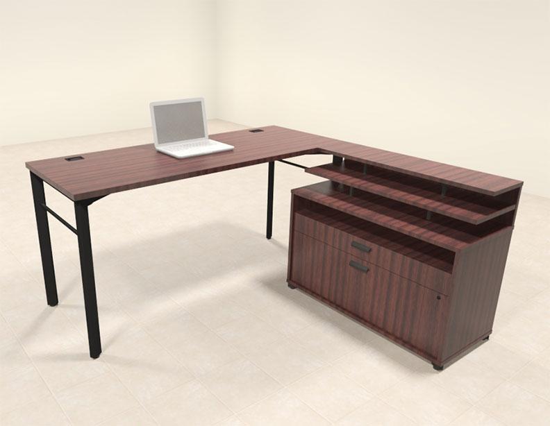 2pc contemporary modern l shaped executive office desk set