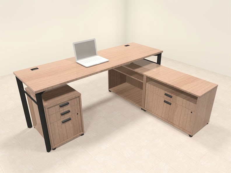 3pc contemporary modern l shaped executive office desk set ba man l5