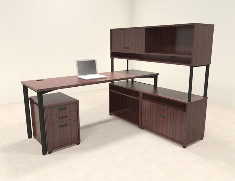 4pc contemporary modern l shaped executive office desk set ba man l8