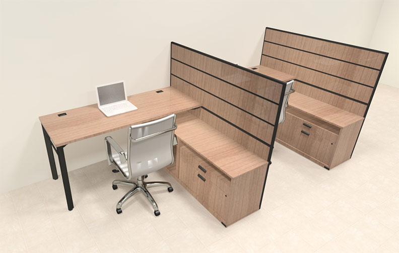 Two person modern l shaped workstation office desk set ba man s1 ebay - L shaped desk for two people ...
