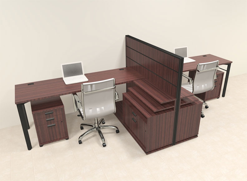 Two person modern l shaped workstation office desk set ba man s10 ebay - L shaped desk for two people ...