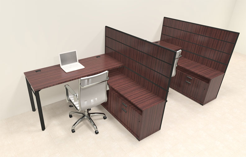 Two person modern l shaped workstation office desk set ba man s2 ebay - L shaped desk for two people ...