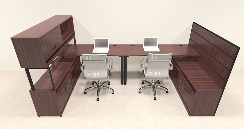 Two person modern l shaped workstation office desk set ba man s4 ebay - L shaped desk for two people ...