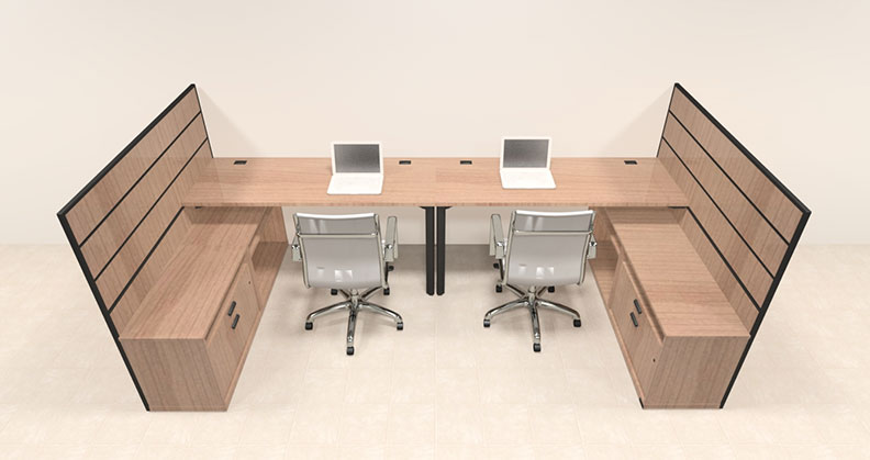 Two person modern l shaped workstation office desk set ba man s5 - L shaped desk for two people ...
