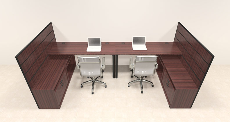 Two person modern l shaped workstation office desk set ba man s6 - L shaped desk for two people ...