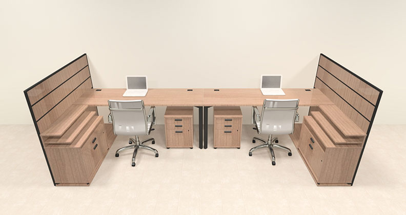 Two person modern l shaped workstation office desk set ba man s7 ebay - L shaped desk for two people ...