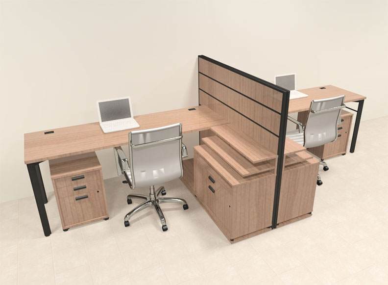 Two person modern l shaped workstation office desk set ba man s9 ebay - Two person office desk ...