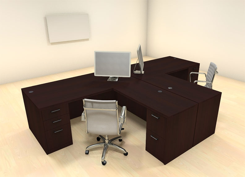 Two persons modern executive office workstation desk set ch amb s2 - Two person office desk ...